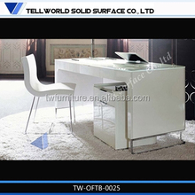 TW high glossy white modern workbench marble office desk