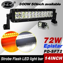 2015 new arrival 14inch 72w strobe flash 4x4 led driving light bars with remote control