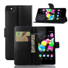 Luxury cell phone cover wallet leather with card slots stand flip for wiko highway pure phone case china suppliers
