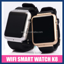 New Leather Strap watch band 5.0MP camera bluetooth/WIFI 3G GSM waterproof android gps smart watch phone K8