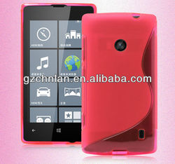 Stylish s line wave tpu gel case cover for nokia lumia 520, many colors
