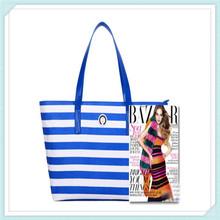 Custom stripe printed microfiber travel/ beach shopping organizer tote bag lady handbag