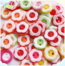 diy flower plastic resin mixed buttons, 2 holes ,sweet child clothing, kids handicraft making