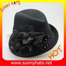 New black feather asymmetry fedora wool church hat design for women