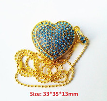 Wholesale china metal necklace usb pen drive heart design jewelry usb memory Stick girls gift necklace usb pendrive
