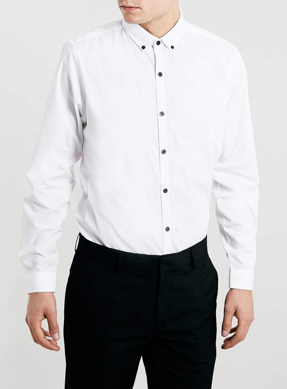Fashion mens button down white collar striped shirt buy for White button down shirt mens