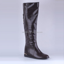 Women's Leather Flat Heel Knee High Riding Boots With Zipper