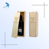 No lid Small modern design Carved/screen Printed Wooden wine gift box