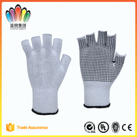 FT SAFETTY 13G Cotton/Polyester Knitted Half Fingers Non-slip Working Glove With Black PVC Dots
