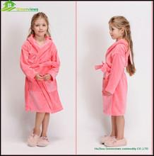 100%Cotton Girl's Bathrobe, Cotton Knitted Children Hooded Bathrobe In Towel FabricGVKBR1016