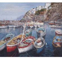 Hot Sale High Quality sea landscape oil painting fishing boat, canvas oil painting
