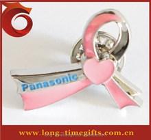 Factory Wholesale Translucent Paints Aids awareness red ribbon pin badge. HIV. Enamel Lapel badge