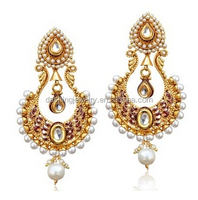 Traditional popular high quality Gold Finish Pearl light weight gold indian earrings jumka