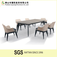 2015 New Outdoor Rectangle Dinner Tables Poly Wicker Rattan 6 Seat Dining Table Setting Durable Fashion Rattan Dining Room Table