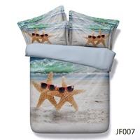 HD digital print bed cover Fun Starfish and Beach scene 3d comforter set
