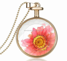 hot selling round shape natural plant flower charm necklace jewelry in europe