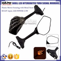 BJ-RM-066 Manufacture Custom Skull Hand LED Turn Signals Motorcycle Mirrors