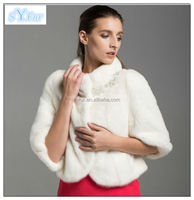 elegant winter wedding mink fur cappa for bride and real mink fur coat withstand collar and women's genuine fur clothing