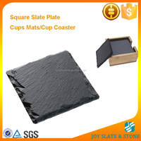 Home decorative dinnerware plate/slate stone square black table cup mat