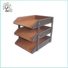 3-Tray Faux Leather Office File Document Tray Desk File Document Organizer Tray
