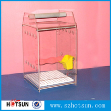 Custom handmade pink color acrylic bird cage house perspex bird cage