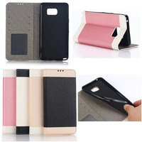 2015 Luxury Mobile Phone Silk Texture Slim Leather Case Cover For Sumsung Galaxy Note 5, Protective PU + TPU Stand Case
