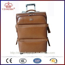 Exotic leather spinner wheels traveLling trolley luggage