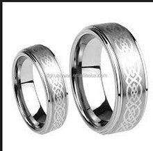 Men Ladies 8MM 6MM Tungsten Carbide Wedding Band Ring Set Laser Etched ring for lovers