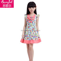 2015 new pattern kids clothing casual cotton Korean frocks design for girls