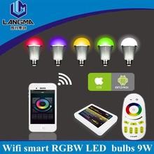Mi-light 9w e27 Indoor Home smart lighting, RGBW light dimmer phone app