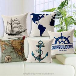 100% linen double reactive printing custom cushion covers