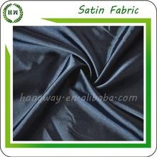 Hongway korean black satin fabric, crystal satin formal black fabric for arab abaya