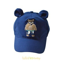 children kids baby navy blue bear embroidered flex fit baseball cap with ear