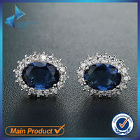 SE08139 Italy Design Rhodium Plated Cooper Glass Blue Stone Stud Earring For Boys