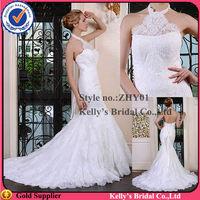 French lace mermaid halter neck wedding dress lace up back