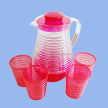 2L Plastic Pitcher set (include the lid and 4 cups),Plastic beer Pitchers,plastic water pitcher