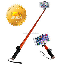 2015 new Extendable Anodized aluminum Handheld monopod bluetooth selfie stick for smartphone with remote shutter