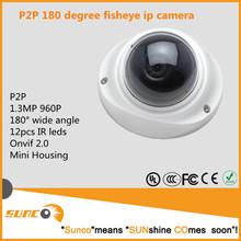 Venta al por mayor P2P <span class=keywords><strong>panorámica</strong></span> fisheye hd IP cctv cámara 1.3MP 180 degree gran angular