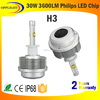 12v headlight bulbs H3 6000k 30W 3600lm led headlight car front kit auto headlight