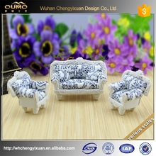 Ceramic scale models miniture home sofa,pottery material furniture models for indoor construction building layout