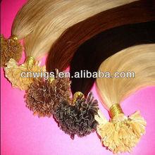 BEST high quality nail hair extension/nail hair extentions/pre-bonded hair extension color 613 nail tip