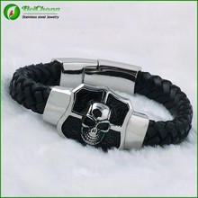 High qulity leather north skull bracelet with cross