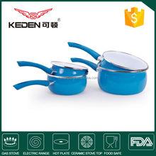 Porcelain enamel and non-stick milk pan cookware set