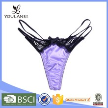 New Arrival Cute Sweet Girl Lace and Satin Hot Sexy Mature Women Underwear Panty Thongs