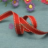 red stitched ribbon, the white string was stitched into two sides of the grosgrain ribbon