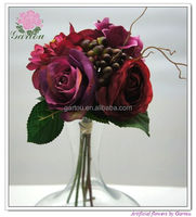 Artificial flowers bouquets dahlia rose ranunculus mixed silk dahlia ranunculus bouquets dahlia with berries