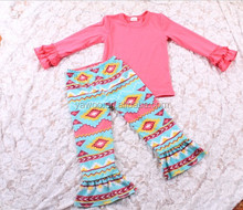 2015baby girls children best seller outfits red long sleeve tee yawoo branded kids soft cotton winter aztec ruffle clothing sets