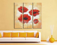3 Panel floral painting decorative art set modern wall art budding rose flower abstract hand painted Canvas Oil Painting
