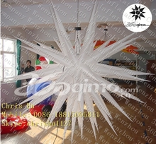 Good quality 72-points white inflatable handing LED light star for holiday decoration