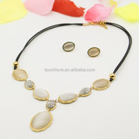 Fashion charming opal with black leather jewelry sets